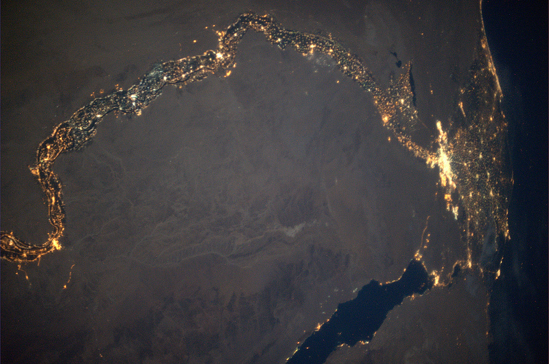The Nile and its delta, at night