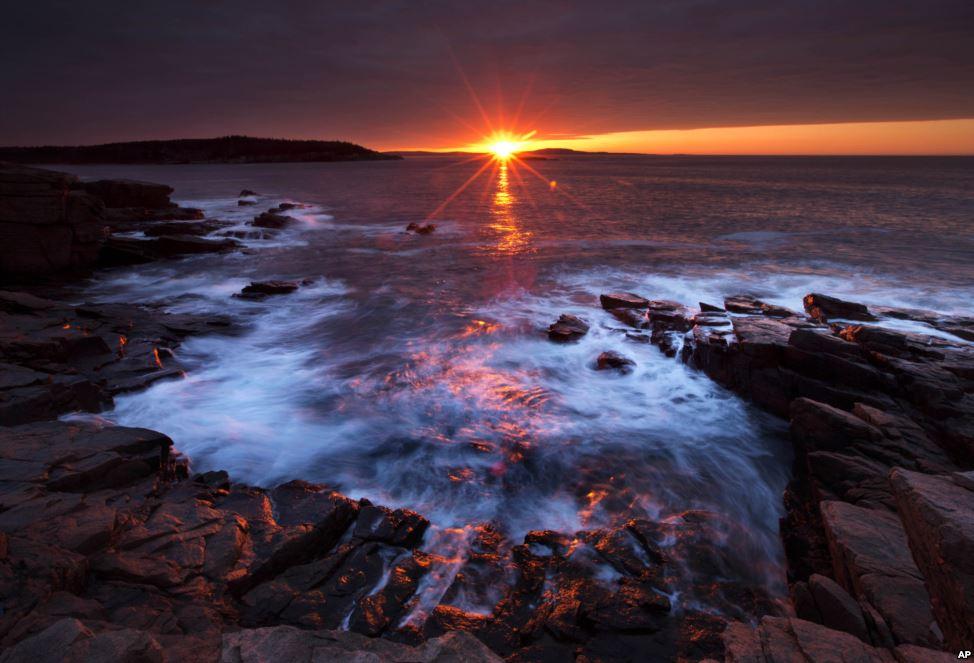 sunset arcadia national park