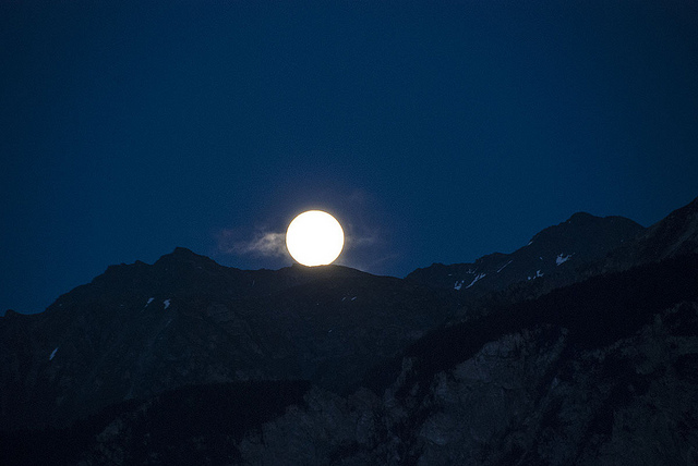 full moon swiss alps