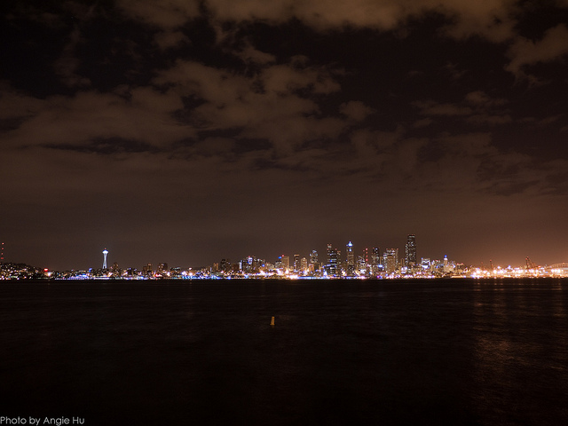 alki beach at night